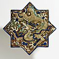 Star-shaped tile, iran (kashan), probably from takht-i sulayman, ca. 1270-75
