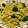 Penne aux legumes verts & pesto d'avocat