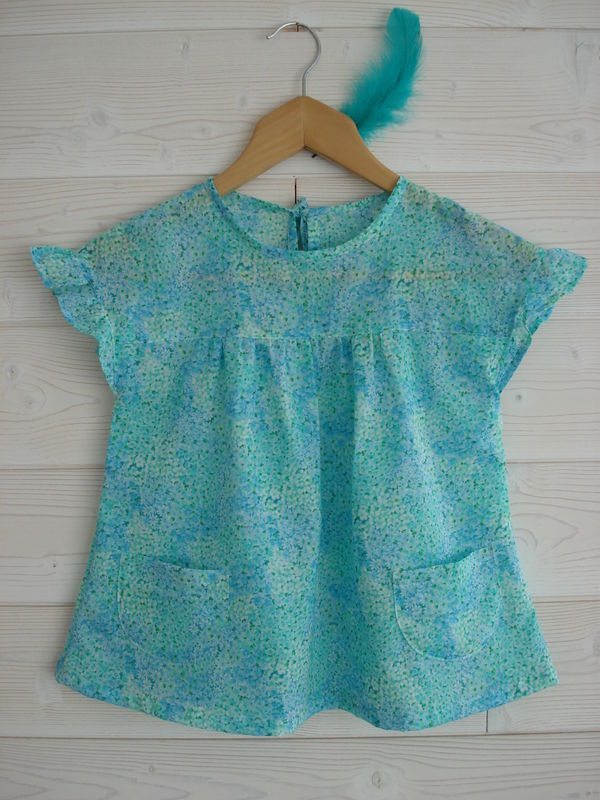 tunique L du Girl Style Dress en fleur turquoise coton 2