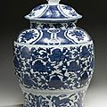 A blue and white baluster jar and cover, ming dynasty, wanli period