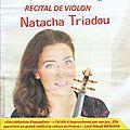 Récital de violon, natacha triadou, en l'église de la rectorie à banyuls sur mer. le 25 septembre 2016