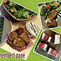 Camembert pané jambon cru et sa salade