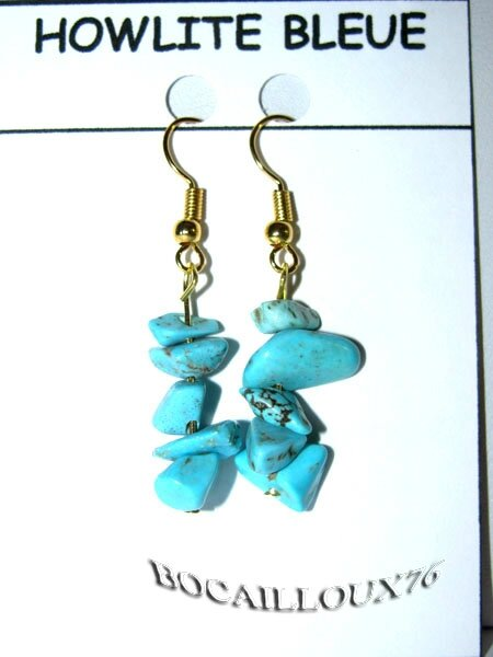 BOUCLE-OREILLE HOWLITE TURQUOISE 3