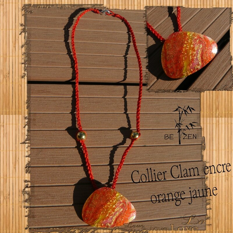 Collier clam encre orange jaune bis