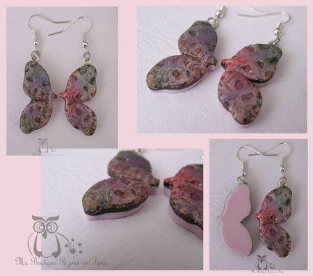 Boucles ailes de papillon antique encre rose