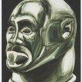 Huile sur toile 73x60 masque heaume