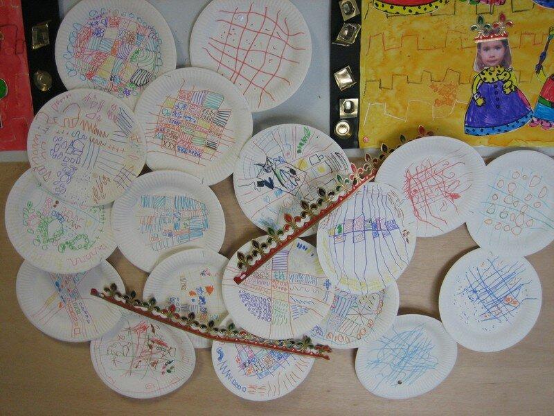 Les galettes (graphisme décoratif sur des assiettes en carton