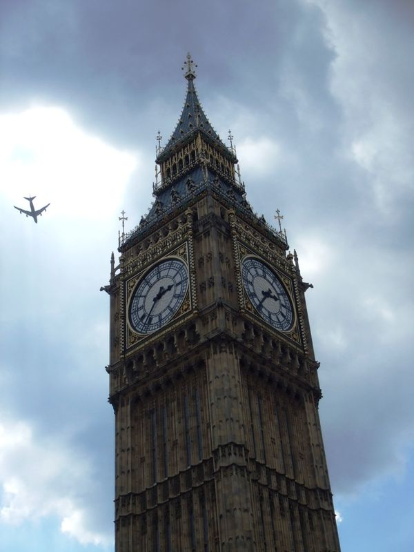 big Ben and a plane