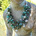 Crochet 2 jades, turquoise et perles d'eau douce
