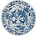 A blue and white dish for the Portuguese Market. Ming Dynasty, Wanli Period. 