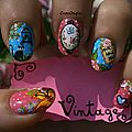 Nail art Vintage Fleur papillon chat oiseau petits pois Crocongle