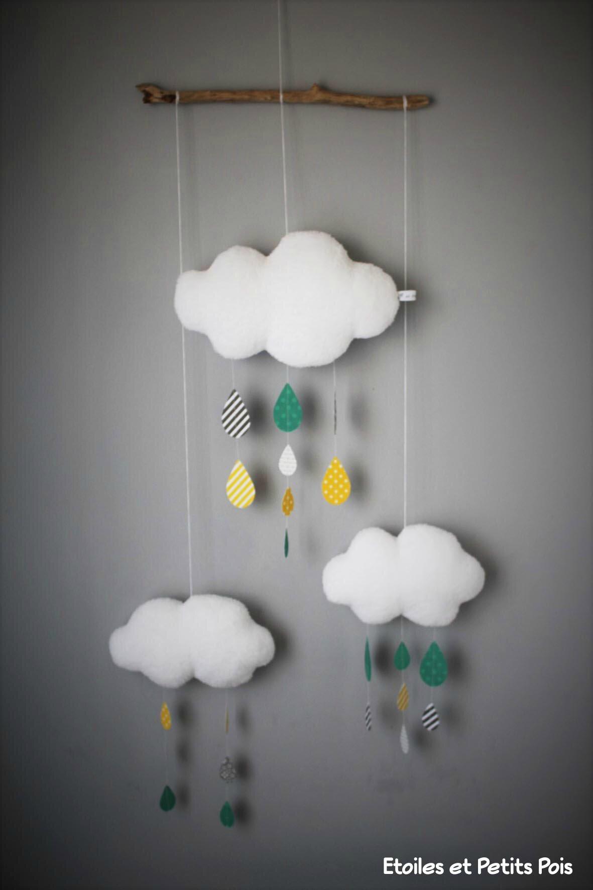 d coration de chambre les mobiles nuages et gouttes de pluie ou pluie d 39 toiles etoiles et. Black Bedroom Furniture Sets. Home Design Ideas