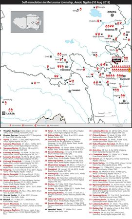 map immolation Tibet 10 aout 2012 High resolution