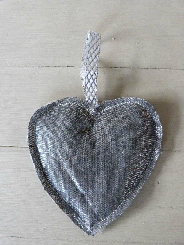 Coeur Lin gris argent