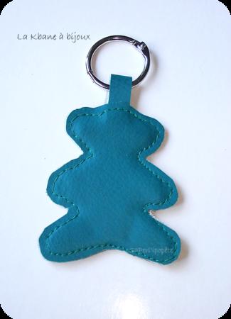 porte clef ourson bleu canard