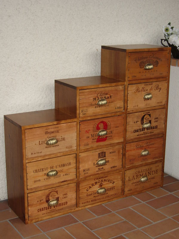 nos meubles caisses de vin l 39 atelier. Black Bedroom Furniture Sets. Home Design Ideas