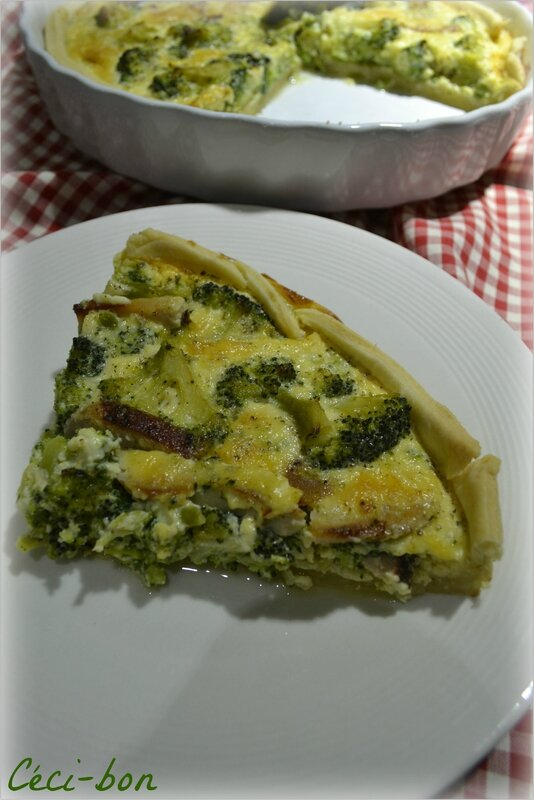 Part quiche poulet, brocolis