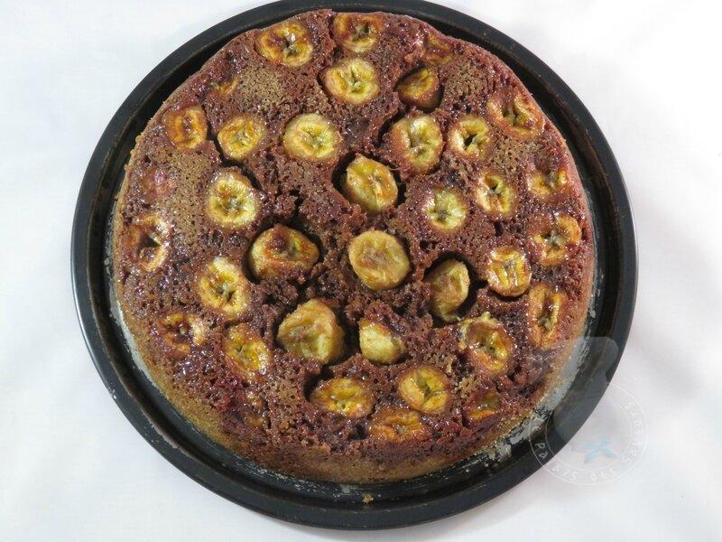 Gâteau renversé bananes chocolat