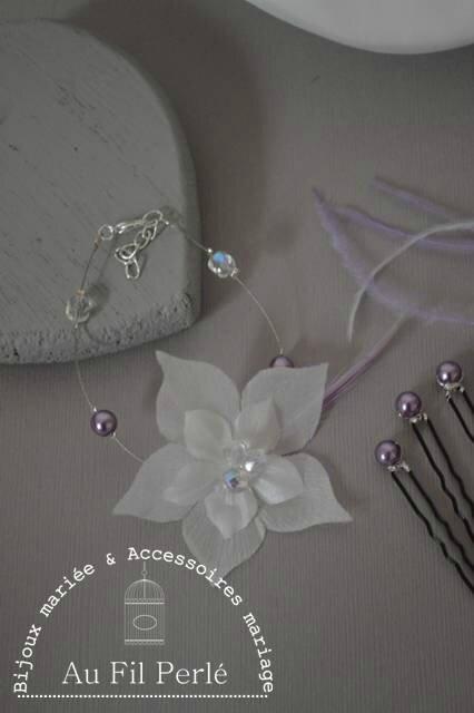 bracelet mariée fleur de soie perles parme mauve ivoire blanc