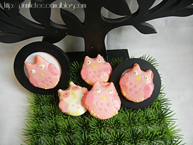 owl macarons prunillefee