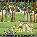 Krishna and balarama defeating the demon dhenukasura. folio from a bhagavata purana. india, school of kangra, circa 1830-1840