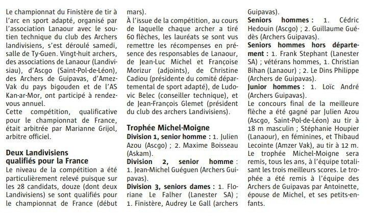 Championnat du finist re de tir l 39 arc le blog de ligue - Ligue de bretagne de tennis de table ...