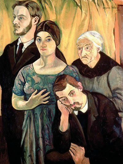 suzanne-valadon-1865-1938-self-portrait-with-her-family-c-1910-valdon-son-maurice-utrillo-1883-1955-husband-andre-utter-1886-1948-and-utters-mother
