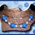 Collier FIMO grosses boules multi bleue (N)