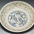 Vietnamese dish with bird-and-flower décor in underglaze blue and overglazed colors. Late 15th-early 16th centuries