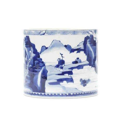 A fine blue and white brushpot, bitong, Kangxi period