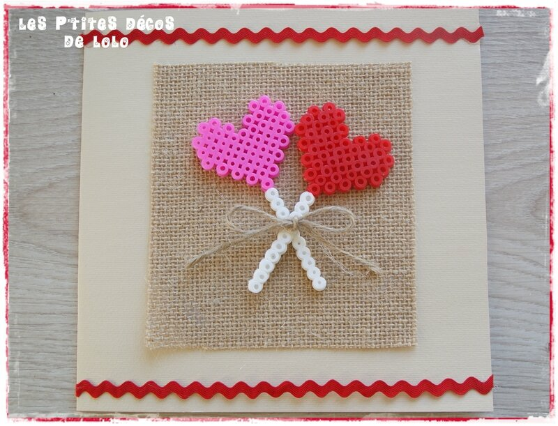 Carte de Saint Valentin ( ou autre ) avec des perles Hama