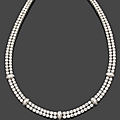 A platinum and diamond necklace by cartier