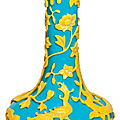 A yellow overlay turquoise glass bottle vase, 19th century