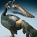 A very rare pair of cloisonné enamel peacock censers. qianlong period (1736-1795)