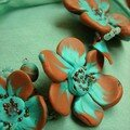 Collier tortillons et fleurs, turquoise et marron en fimo, rocaille et fil de fer (vue 2)