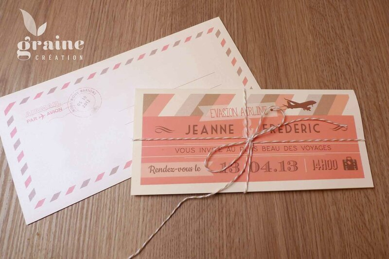 faire part billet d'avion retro airline