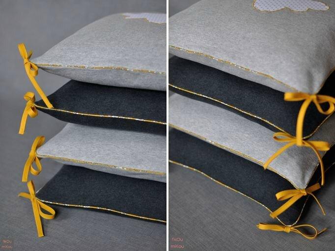 Tour de lit gris moutarde détails