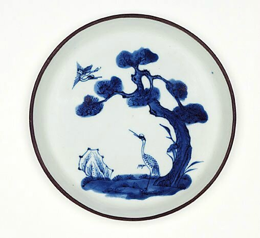 Bleu de Hue dish decorated with cranes and pine trees, Qing dynasty (1644–1911), Export ware for Viet Nam, circa 19th century-20