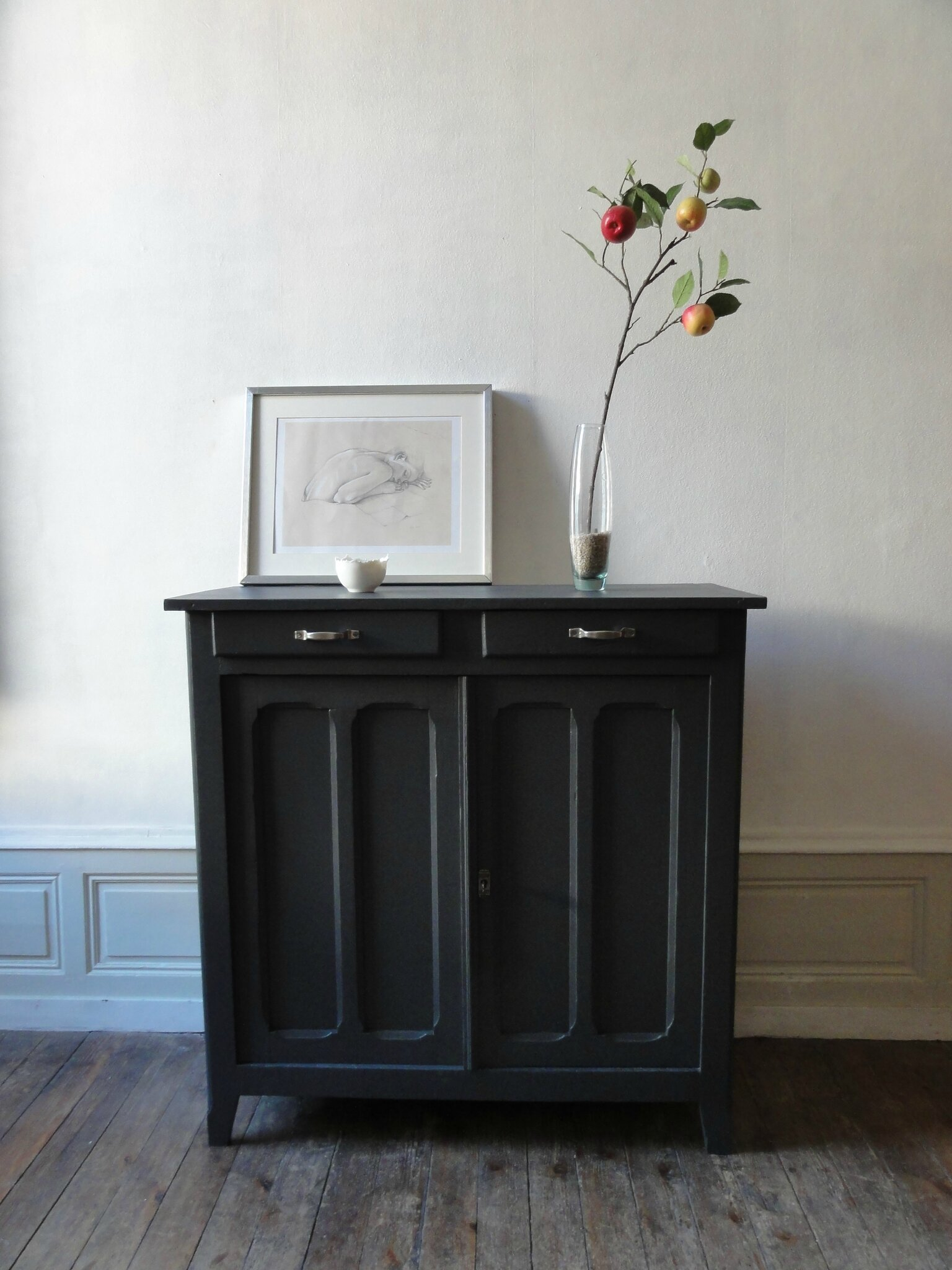 buffet parisien gris charbon vintage moi. Black Bedroom Furniture Sets. Home Design Ideas