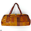 Objet vintage ... sac à main patchwork * cuir & rotin