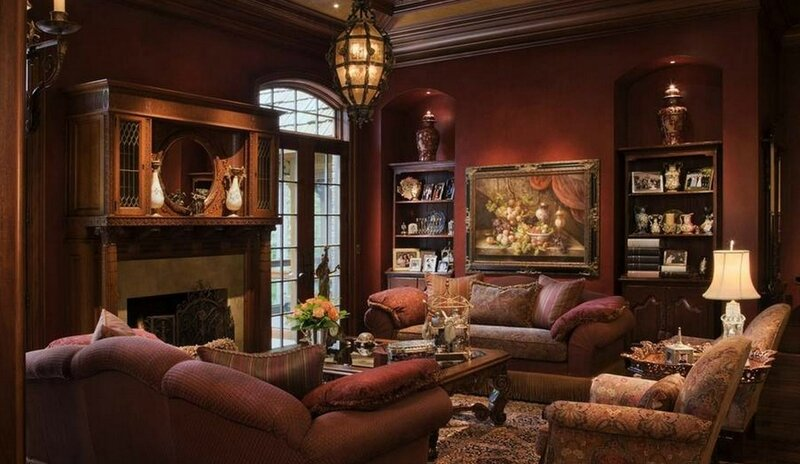 brown-living-room-decoration-neoclassical