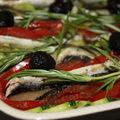 Tian provençal aux anchois, olives et romarin