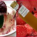 Sorbet yaourt verveine-citron framboises