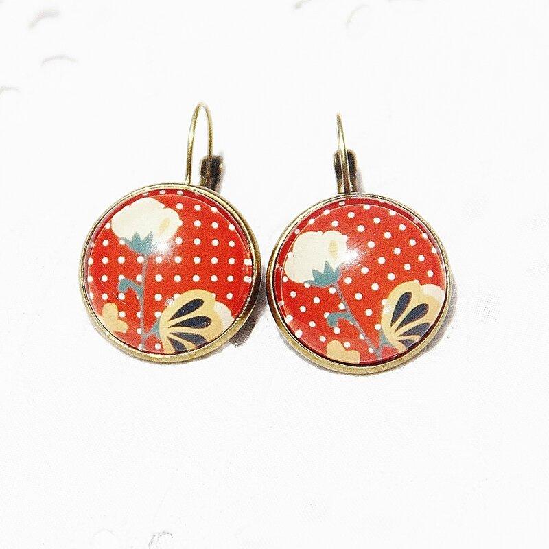 lisa 22 boucles d'oreilles pois fleurs vintages cabochons bijoux colorés louise indigo (5)