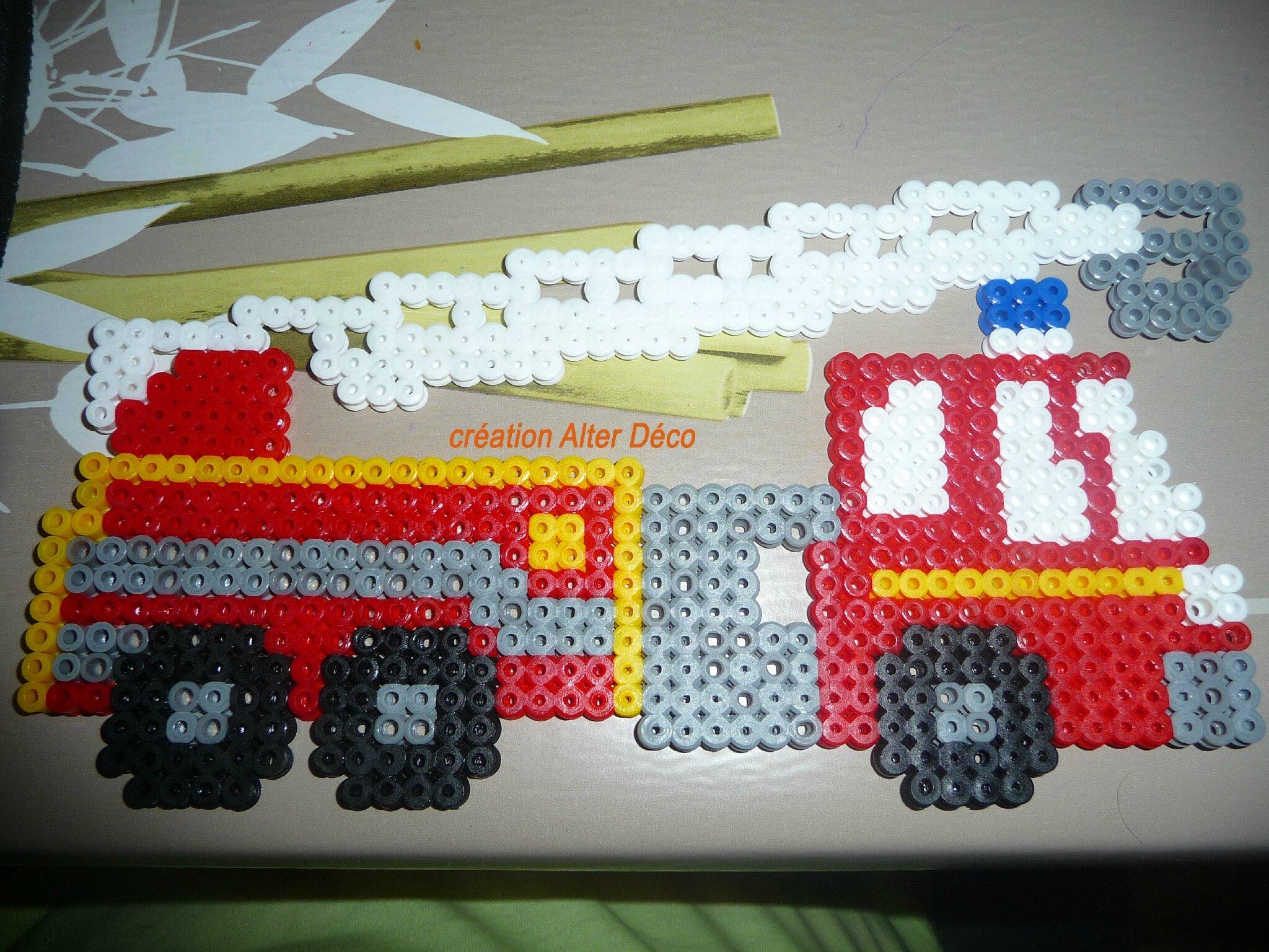 camion pompier en perles à repasser