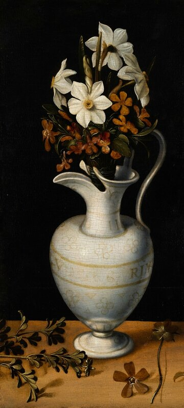 Ludger tom Ring the Younger (1522-1584), Narcissi, Periwinkle and Violets in a Ewer, c