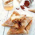 Samoussas au poulet, poivrons et curry - sauce chorizo (bataille food #23)