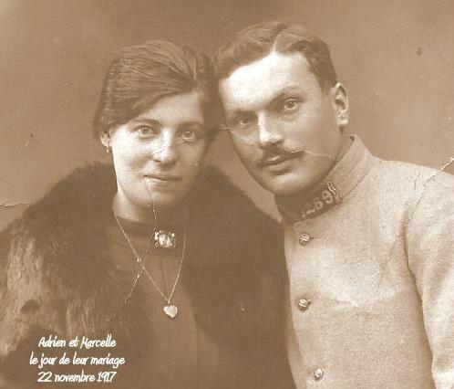 mariage Adrien et Marcelle mariage 22 novembre 1917