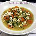 Soupe de poulet (avec un reste de poulet rôti)