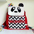 Sac à dos panda personnalisé pour Valentin